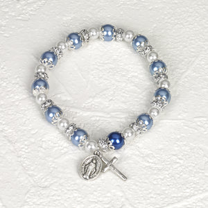 Capped Light Blue & Pearl Stretch Bracelet