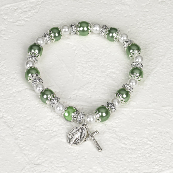 Capped Light Green & Pearl Stretch Bracelet