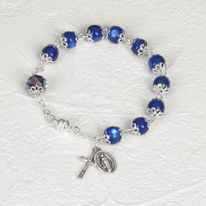 Capped Blue Cat's Eye Bracelet