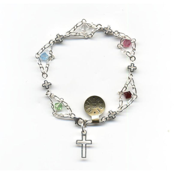 Colored Swarovski Crystal Beaded Sterling Silver Ladder Bracelet