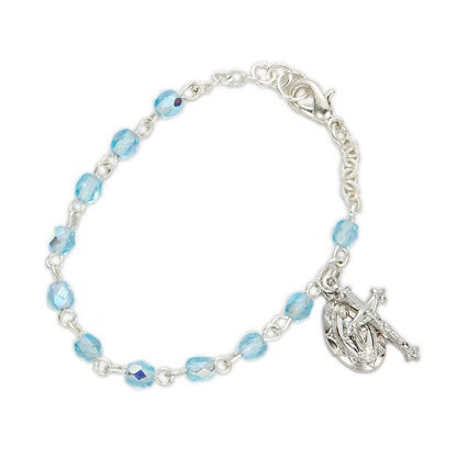 March Birthstone Miraculous Medal Bracelet