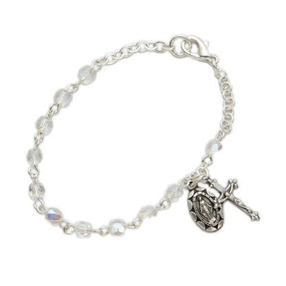 April Birthstone Miraculous Medal Bracelet