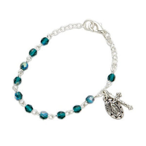 May Birthstone Miraculous Medal Bracelet