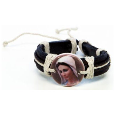 Our Lady of Medjugorje Leather Bracelet