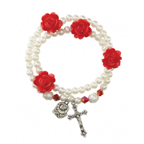 Imitation Pearl with Rose Bead Wrap Rosary Bracelet