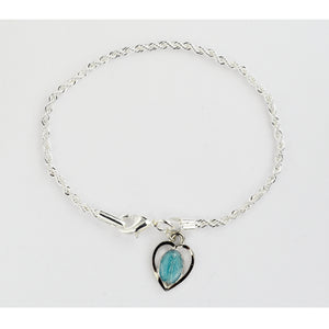 Rope Bracelet with Blue Enamel Miraculous Medal