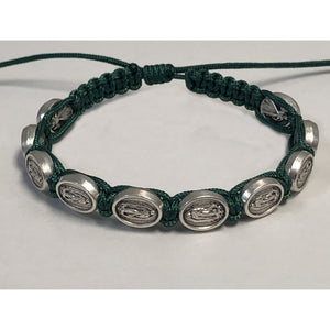 Our Lady of Guadalupe Medal Green Slip Knot Bracelet