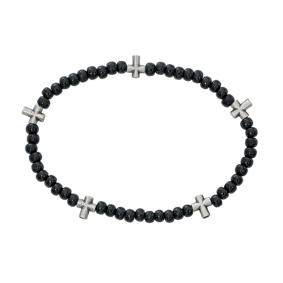 Black Wood Stretch Rosary Bracelet