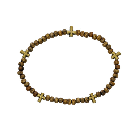 Light Wood Stretch Rosary Bracelet