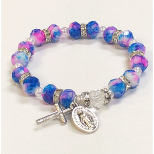 Blue & Pink Imitation Stone Youth Stretch Bracelet