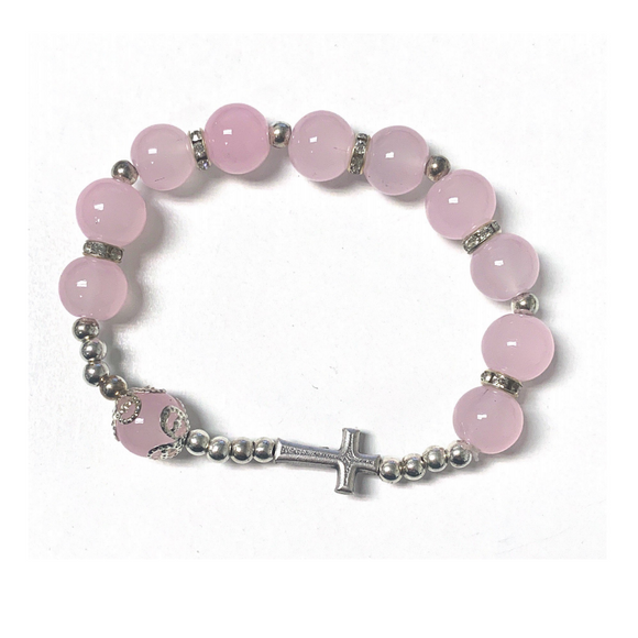 Pink Rosary Bracelet with Cross