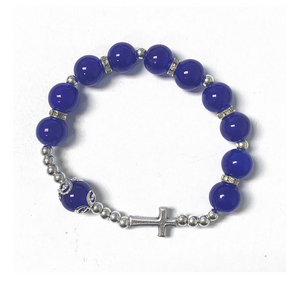Dark Blue Rosary Bracelet with Cross