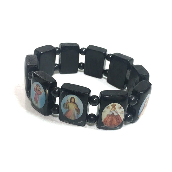 Large Black Devotional Saint Bracelet