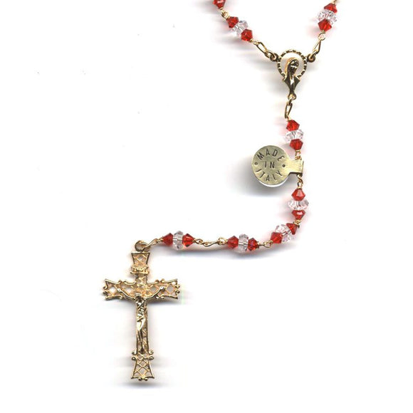 Red and Clear Swarovski Crystal Rosary