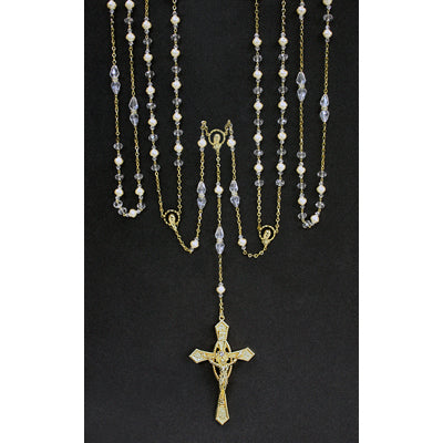 Gold Lasso Rosary with Clear and Pearl Beads