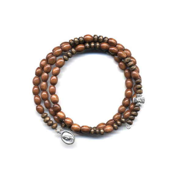 Wrap Rosary - Light with Dark Brown Beads