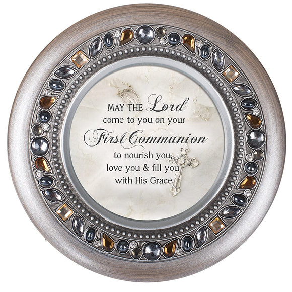 Round Jeweled First Communion Music Box