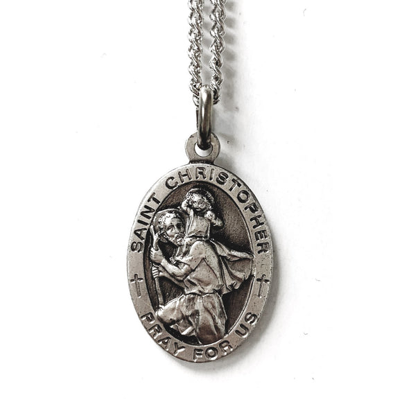 St. Christopher Nickel Silver Oval Medal