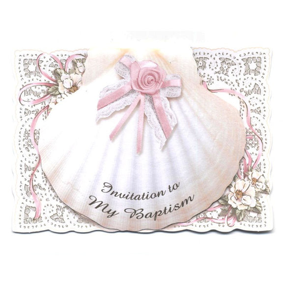 Shell Design Girl Baptism Invitations