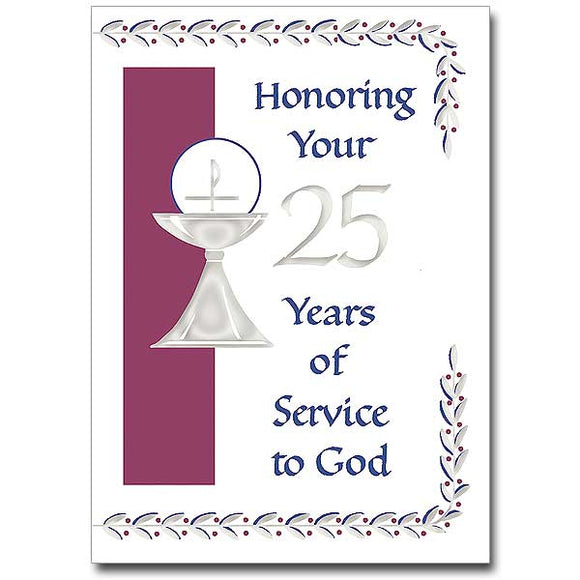 Honoring Your 25 Years of Service to God