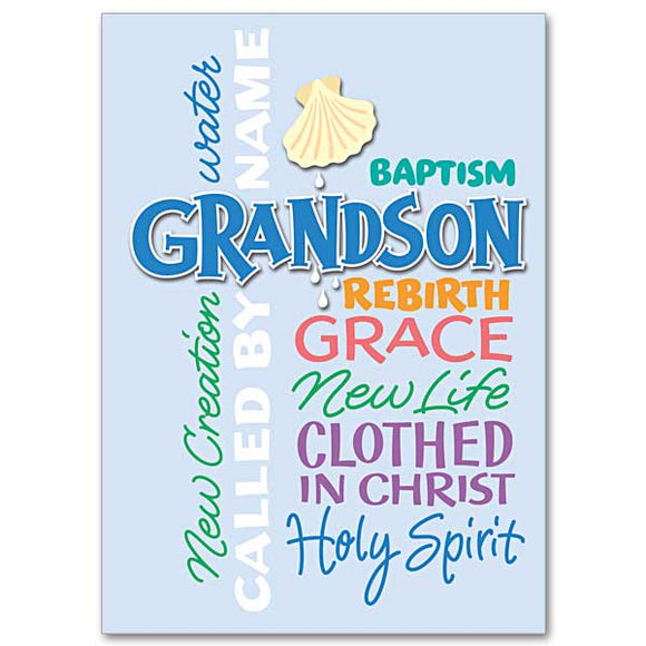 Grandson Baptism Card