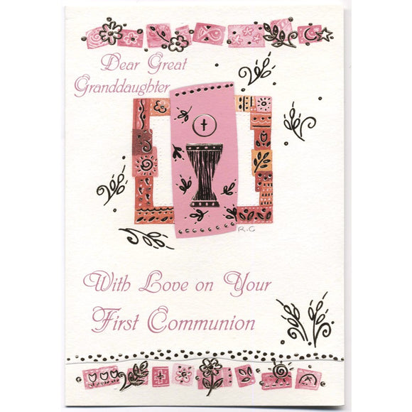 Dear Great Granddaughter First Communion Card