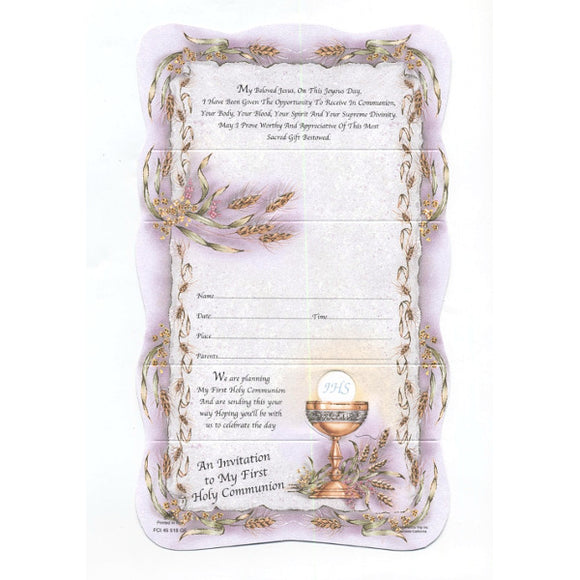 Pink Chalice First Communion Invitations