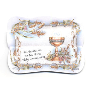 Blue Chalice First Communion Invitations