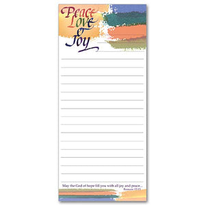 Peace, Love, and Joy Magnetic Notepad