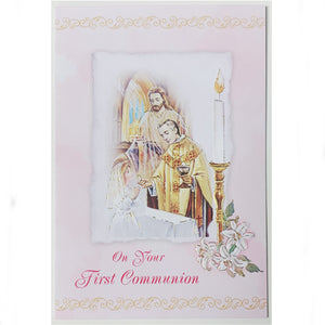 On Your First Communion Pink Card