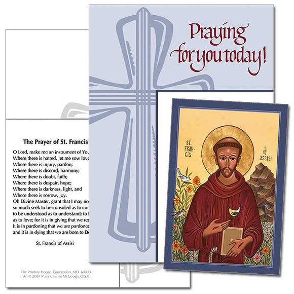 Praying for You Today! St. Francis Keepsake Card