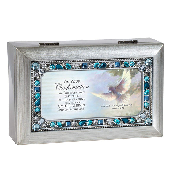 Silver and Blue Jeweled Confirmation Music Box