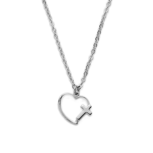First Holy Communion Silver Heart with Cross Necklace