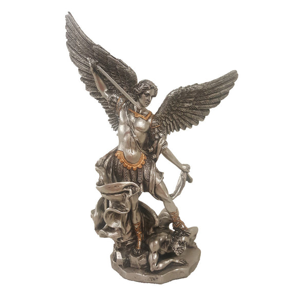 St. Michael Pewter & Gold Trim 8