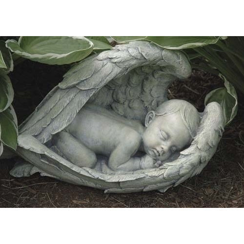 Sleeping Baby in Angel Wings Outdoor Statue