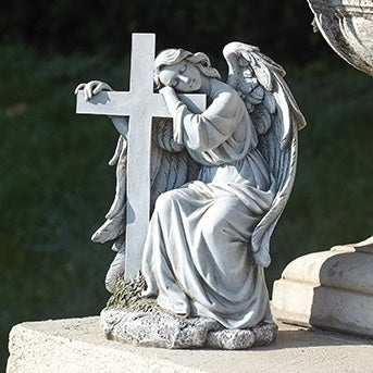 Angel Leaning on Cross Garden Statue