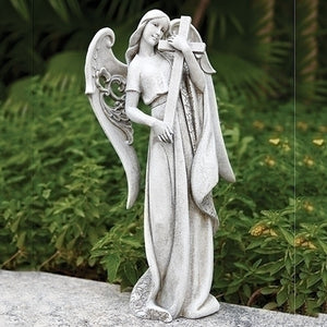 Angel Holding a Cross Outdoor Statue