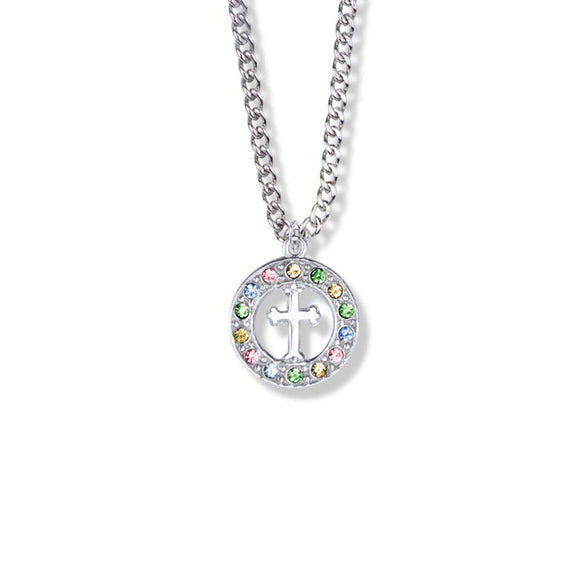 Sterling Silver Cross in Circle of Colored Cubic Zirconia Stones