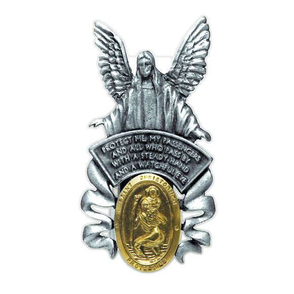 Guardian Angel Visor Clip w/St. Christopher Medal