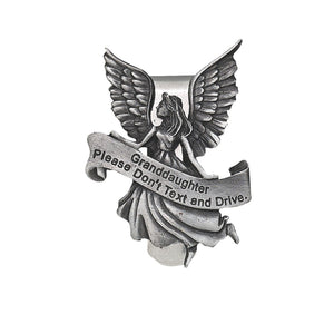 Granddaughter Never Text and Drive Guardian Angel Visor Clip