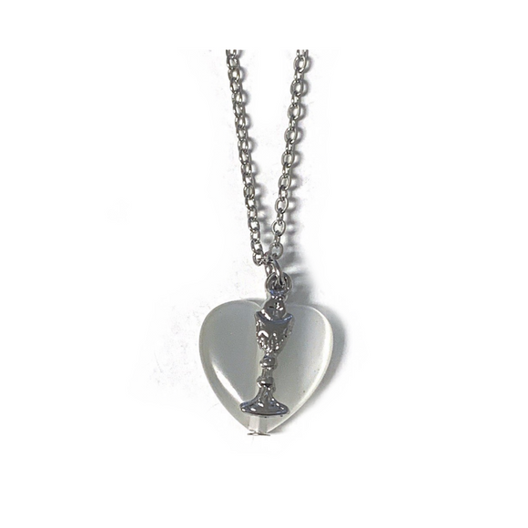 White Heart with Chalice Necklace