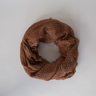 SOPHIE Freckles Maxi Scarf - Spice, brown polka dot, sarong, large