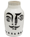 madam stoltz painted face vase, black and white, ceramic