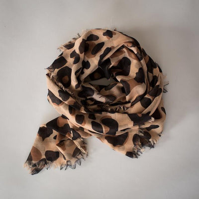 SOPHIE Maxi Scarf - Wild Camel, light brown animal print, sarong