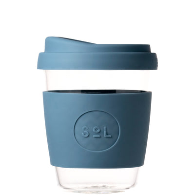SOL RESUABLE CUP, PLASTIC FREE, HANDBLOWN GLASS, blue