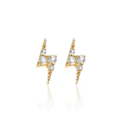 Silk & Steel Superfine Lightening Bolt Stud - White Topaz/Gold