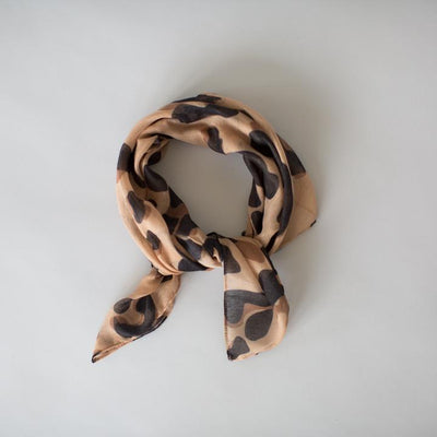 SOPHIE Mini Scarf - Wild  Camel, animal print, neck and hair