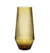 amber glass, reeded soda vase, hubsch