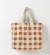 Citta Gingham Beach Bag - Chestnut/Almond