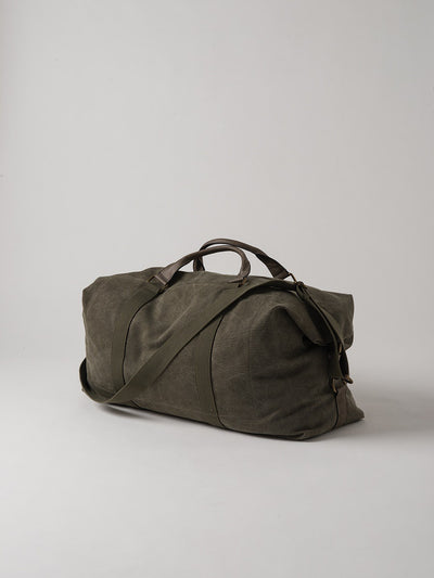 Citta La Paz Waxed Canvas and Leather Weekender Bag - Olive